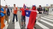 Феновете на Чили и Холандия преди мача на Коринтианс Арена