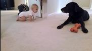Първото пълзене на бебе с чаровен край
