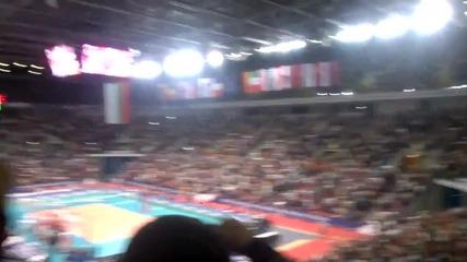 """Атмосферата в зала """" Арена Армеец """" след победата срещу Холандия с 3:2 гейма (11.10.2015) част 2"""