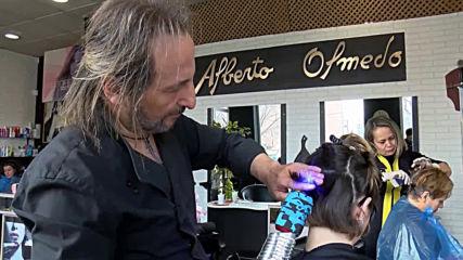 Futuristic hair salon cuts hair with laser-sharp precision