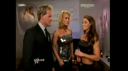 Trish Stratus,  Beth and Chris Jericho Backstage ! Raw 14.09.09