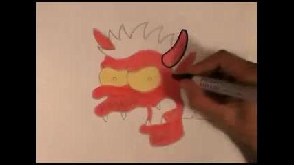 Рисуване на Дявола (герой от Семейство Симпън)