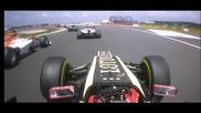 F1 Гран при на Великобритания 2012 - контакта между Di Resta и Grosjean [hd][onboard]
