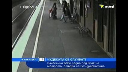 18+ Бебе падна под влак на метрото , като по чудо се отърва без драскотина ! ( Шокиращи кадри ! )