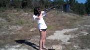 Girl shoots 12 gauge with 3 inch buckshot.. Funny