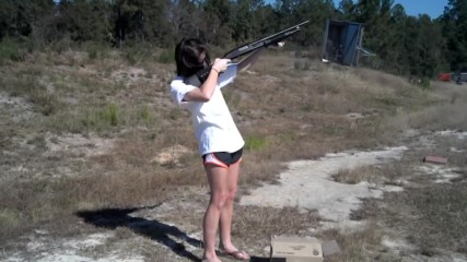 Girl shoots 12 gauge with 3 inch buckshot.. Funny