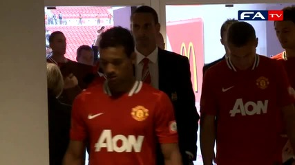Funny moment as Evra sings for Wembley