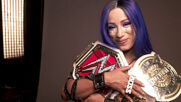 2 Beltz Banks poses with her titles: WWE Network Exclusive, August 7, 2020