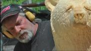 Човек прави мечка от дърво с моторна резачка