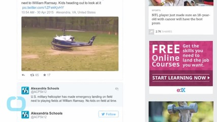 Air Force Chopper Crew Conducts Emergency Landing at Elementary School