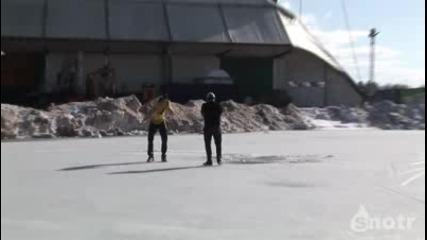 Каране на бъги върхо заледено езеро !
