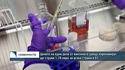 Цената на една доза от ваксината срещу коронавирус ще струва 1.78 евро за всяка страна в ЕС