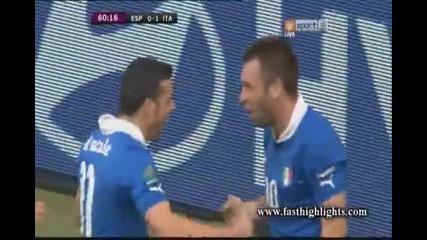 Евро 2012 : Испания 0 - 1 Италия ( Антонио Ди Натале открива резултата в 61' минута) 10.06.2012