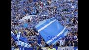 Хореография на синята Агитка на мача срещу Чорбата+а ний сме сини фенове милиони