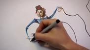 Жена талант превръща случайна драсканица в творческо произведение на изкуството!