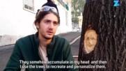 Уличен артист прави скултури в дърветата на случайни хора