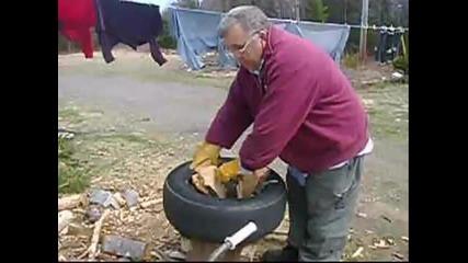Цепене на дърва с помоща на автомобилна гума