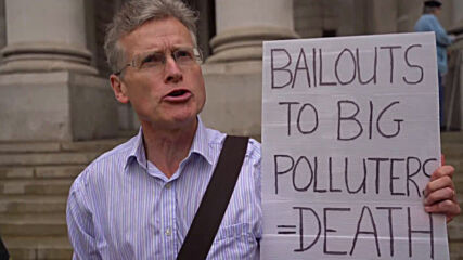 UK: Extinction Rebellion activists protest against polluter bailouts outside Bank of England