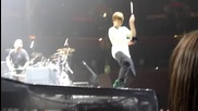 Justin Bieber ringing the cowbell at soundcheck