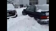 Subaru Vs. snow pile