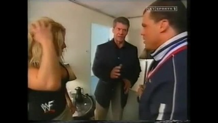 Trish Stratus and Vince backstage 2002г.