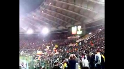 Roma As - Inno - Химна На Ac Рома Преди мач от Шл на Олимпико с Мю и с прочитане имената на играчите