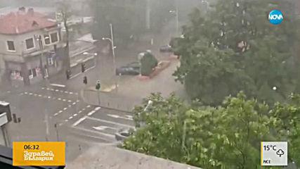 Стряскащи кадри как мълния удря дърво на улица в центъра на Пловдив (ВИДЕО)