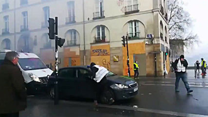 France: Mobile footage shows protesters vandalise car, bus stop at violent rally in Nantes