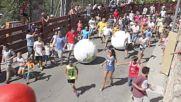 Spain: The running of the balls - Mataelpino swaps bull run for giant balls