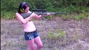 Hot Chick shooting the remington 597 in .22 (first time Shooting)