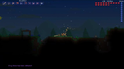 Terraria - Looking Eye And King Slime Boss Fight
