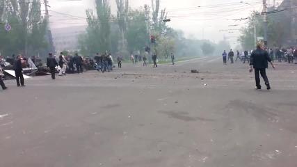 Мариопул 09.05.2014, Фашистите от укр.армия бягат от града