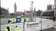 UK: Greenpeace build mock 'fracking' site in Parliament Square in anti-Tory protest