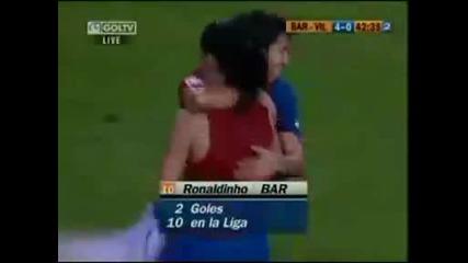Ronaldinho вкарва с задна ножица срещу Villareal