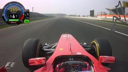 Една Обиколка на Писта В Индия с F.alonso 2011