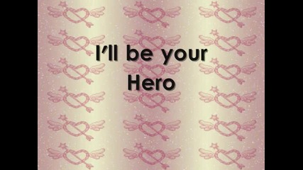 Sterling Knight - Hero Lyrics on the screen