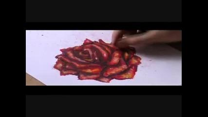 Рисуване на роза с маслени пастели