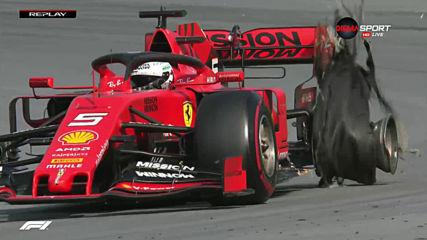 Кошмар за Ферари - Льоклер и Фетел се удариха и отпаднаха