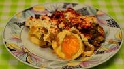 Праз лук с горчица и варени яйца