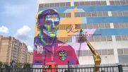Russia: Striking mural of footballer Ruslan Kambolov painted in Kazan