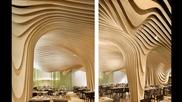 Забележителен интериор от дърво в Banq restaurant в Бостън