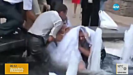 Сватбена фотосесия: Младоженци паднаха във фонтан