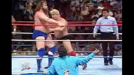 Jim Duggan,Bret Hart,Jim Neidhart vs Dino Bravo,The Fabulous Rougeaus