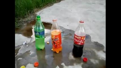 Ментос и газировка.(fanta,coca-cola,sprite)