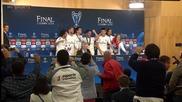 Играчи на Реал Мадрид нахлуха на Пресконференцията на Анчелоти след мача