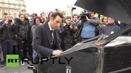 France: Pianist plays John Lennon's 'Imagine' as mourners gather on Place de la Republique