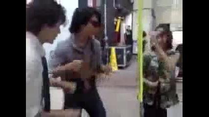 Nick and Joe dancing