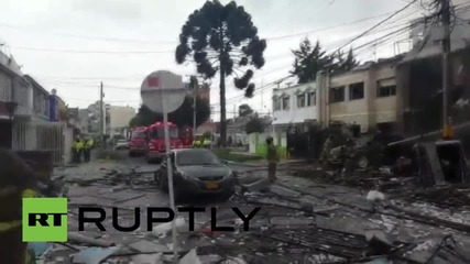 Colombia: Gas canister explosion injures 17, destroys buildings' facade