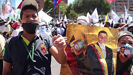 Ecuador: Correa supporters demanding registration of 'Solidarity Coalition' rally outside NEC