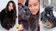 Красивата рускиня, която отглежда изоставена от майка си пантера и ротвайлер